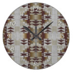Khaki Beige Coffee Caramel Brown Mosaic Pattern Clocks