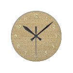 Khaki Coffee Brown Faux Burlap Texture Pattern Round Clocks