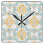 Modern Classy Unique Ethnic Mosaic Texture Look Square Wall Clocks