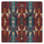 Orange Brown Red Teal Blue Tribal Mosaic Pattern Square Wallclock