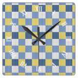 Pastel Blue Teal Yellow White Checkered Pattern Square Wall Clocks