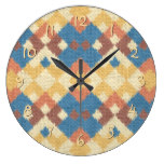 Stylish Western Ethnic Ikat MosaicTextile Look Clocks