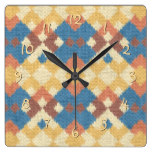 Stylish Western Ethnic Ikat MosaicTextile Look Square Wall Clock