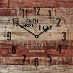 Faith Hole & Love 1 Corinthians 13:13 Rustic 14 x 14 Wood Wall Clock Sign