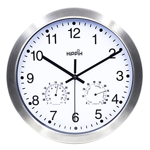 Hippih Silent Non-ticking Wall Clock- Metal Frame Glass Cover, 12 inches