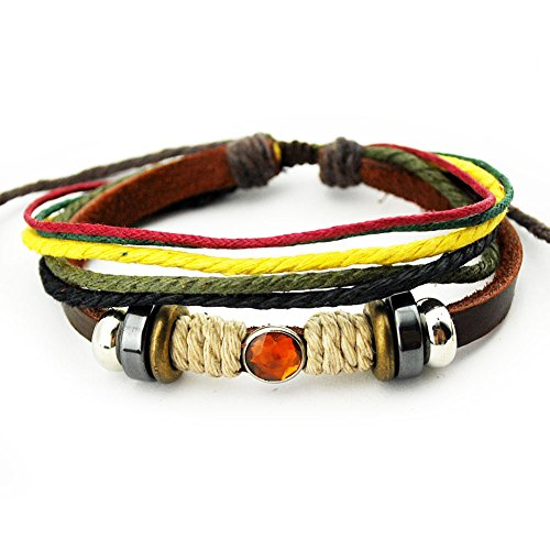 Real Spark Genuine Leather Bracelet Lucky Orange Crystal Multicolor Rope Wrap Bracelete