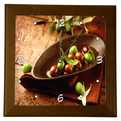 Rikki KnightTM Rustic Scene Olives And Olive Oil Design 8″ Wood Framed Art Wall Clocks Desk Clocks