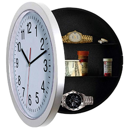 Wall Clock, UNIQUE GIFT, Large Wall Clocks with a Hidden Compartment or Stash Box. Kitchen Clock with 10 inch White Face. Use as Secret Place to STASH CASH.