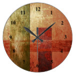Abstract Art Grunge Geometric Red Orange Green Wallclock