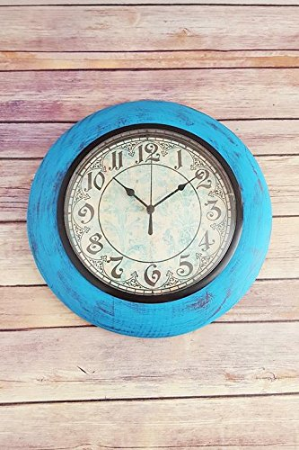 Wall Clock Turquoise Home Decor Vintage Rustic Farmhouse Up Cycled Eco Friendly