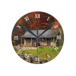Old Kentucky Country Cabin Fall Season Round Wall Clock