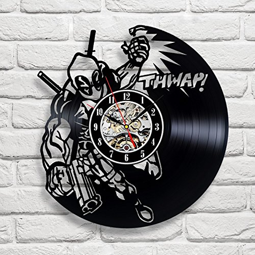 Deadpool Art Vinyl Record Clock Wall Decor Home Design Decoration 12 Inch (30 Cm)