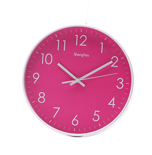 SonYo Indoor/Outdoor Non-Ticking Silent Quartz Modern Simple Wall Clock Digital Quiet Sweep Movement Office Decor 10 Inch(Rose)
