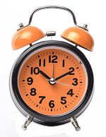 Maytime 3.5″ Quiet Non-ticking Silent Quartz Analog Retro Vintage bedside Twin Bell Battery Operated – Loud Alarm Clock With Loud Alarm and Nightlight(Orange)