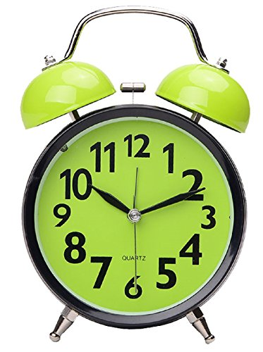 Maytime Quartz Analog Retro Vintage Simple Non-Ticking Twin Bell Alarm Clock With Loud Alarm and Nightlight 4.5″ Lightgreen