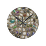 Colorful Faux Shiny 3D River Rock Stones Pattern Round Clock