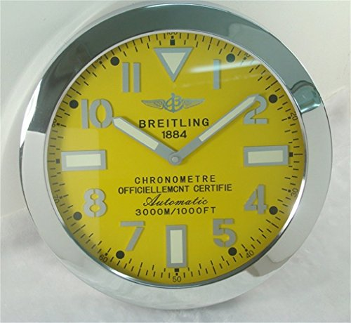 Breitling Luminous Silent Sweep Wall Clock Silver+Yellow