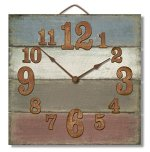 Highland Graphics 12″ Rustic Antique Color Stripes Wall Clock Made in USA from Reclaimed Wood Slats