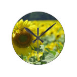 Field of Sunflowers Round Clock
