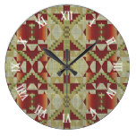 Ochre Brown Red Olive Green Tribal Mosaic Pattern Large Clock