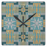 Turquoise Yellow Native American Indian Pattern Square Wall Clock