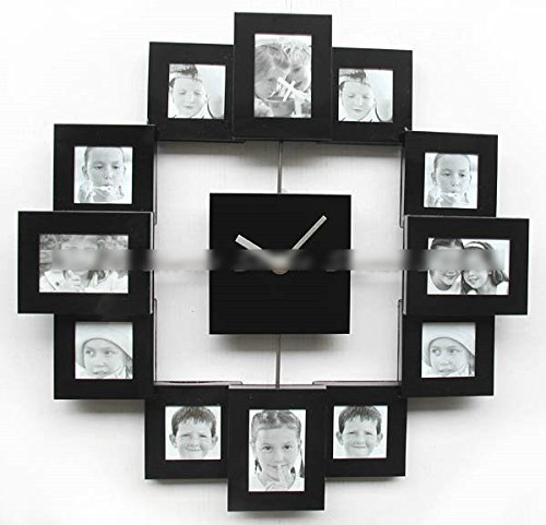 Modern Family Home Multi Color 12 Picture Photo Frame Quartz Wall Clock :Black