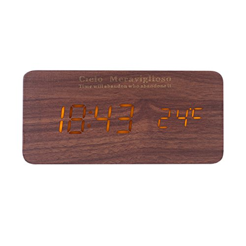 Cielo Meraviglioso Wood LED Clock with Voice Control,Temperature,Time,Alarm,Date Display and Snooze Mode Function (brown+yellow LED)