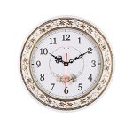 Foxtop Silent Round Wall Clocks (11 Inches) Living Room Decorative Vintage / Country / French Style Resin Floral Clock with Slight 'Ticking'