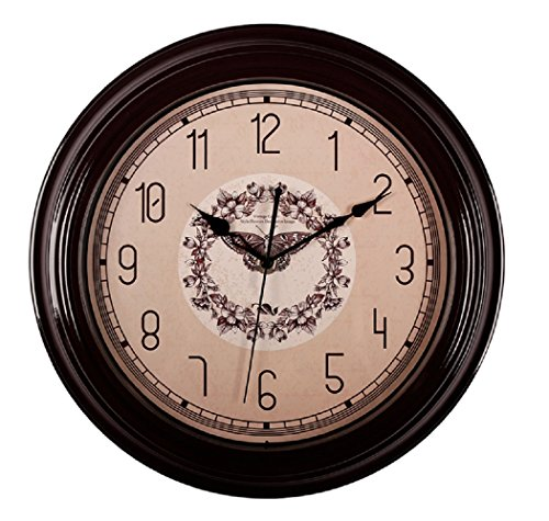 SonYo Silent Non-ticking Round Wall Clocks (12 Inches) Decorative Vintage Style Flower and Butterfly Design Clock Brown