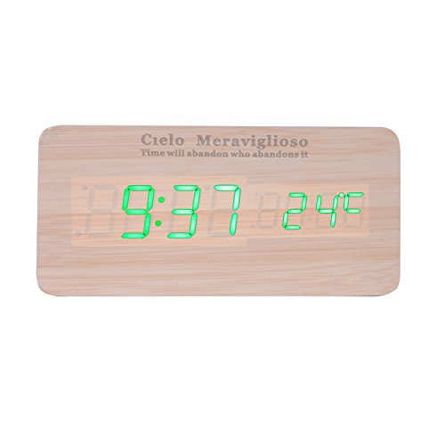 Cielo Meraviglioso Wood LED Clock with Voice Control,Temperature,Time,Alarm,Date Display and Snooze Mode Function (yellow+green LED)