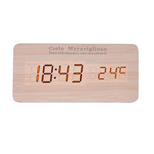 Cielo Meraviglioso Wood LED Clock with Voice Control,Temperature,Time,Alarm,Date Display and Snooze Mode Function (yellow+yellow LED)