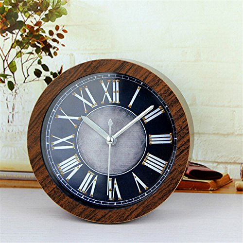FirstDecor 5 inch Brown Roman numerals New Alarm Clock Round 3D learning clock Vintage Wood Pattern Silent Non-ticking Quartz Desk Clocks Table Clock
