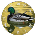 Colorful Wild Mallard Duck Green Head Yellow Bill Large Clock