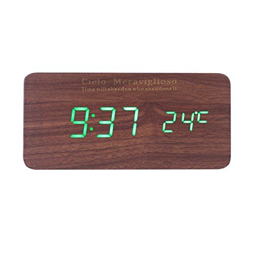 Cielo Meraviglioso Wood LED Clock with Voice Control,Temperature,Time,Alarm,Date Display and Snooze Mode Function (brown+green LED)