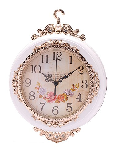 SonYo Indoor/Outdoor Antique Vintage Double-Sided Wall Hanging Quartz Clock Elegant Home Decor with Rose Pattern Included Hanger 12 Inch White