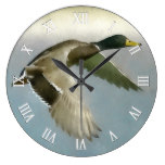 Wild Duck In Flight Large Clock