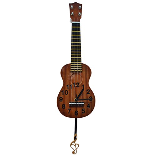 Gift Garden Ukulele Musical Clocks Figurines with Notes Swing Hanging
