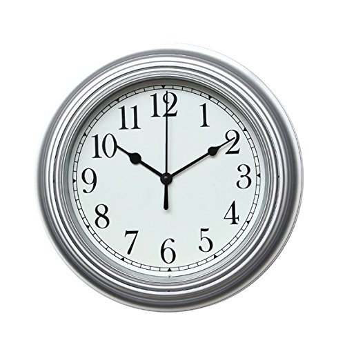 Foxtop Minimalist Wall Clock Non Ticking Digital Quiet Sweep 10-Inches Home Decor with Slight 'Ticking 'Round Vintage Resin Wall Clocks,Black Number + Silver Housing