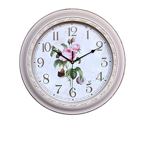 Foxtop 14 Inch Silent No-ticking Wall Clock Large Decorative Living Room Clock – Battery Operated Quartz Analog Movement Floral Dial with Arabic Numerals Display (White Color)