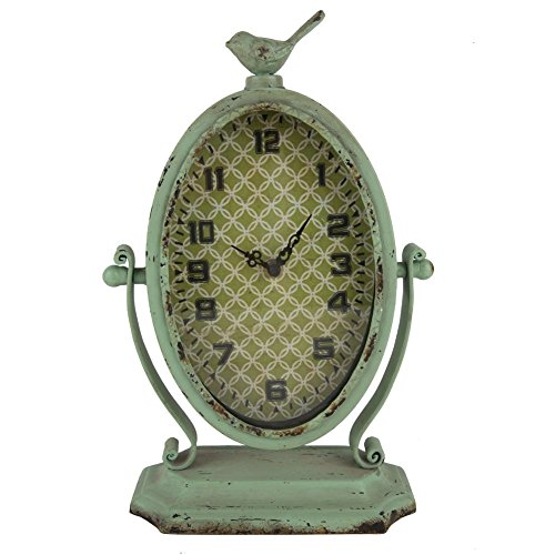 Vintage Oval Metal Table Clock,Distressed Pale Green 8.75X3.75X13.37-Inch