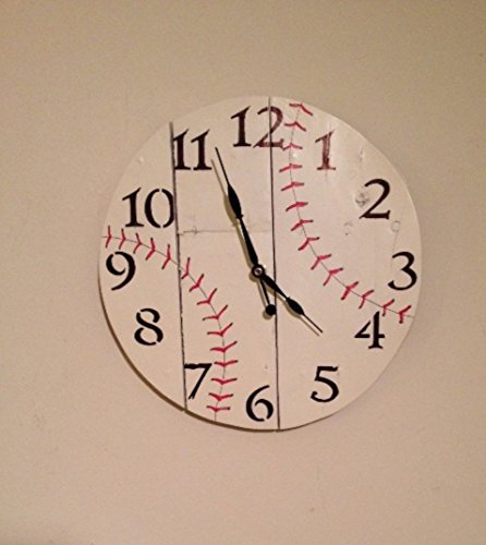 Rustic Wood Baseball Wall Clock, reclaimed, man cave gift, wood clock, woodworking, sports, baseball, kids room decor, child room decor