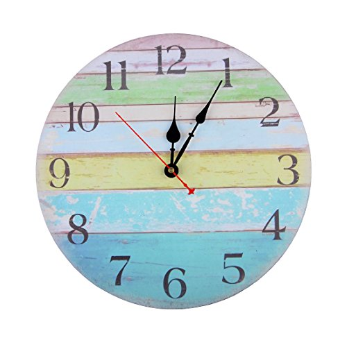 14 Inch Vintage Rustic Country Tuscan Style Silent Wooden Wall Clock Home Decor – Ocean Stripe A