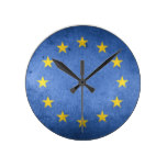 European Union flag rustic grunge EU Round Clock
