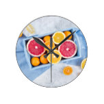 Fresh fruits citruses round clock