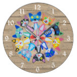 happy cats mandala on woodboard look white numbers large clock