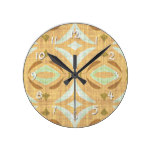 Mint Green Brown Retro Chic Nouveau Mosaic Pattern Round Clock