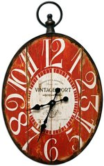 Oval Decorative Clock with Red Antique Look Face New Design 17×28 Inches Metal Frame Quartz movement
