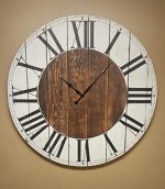 36″ farmhouse clock with white distressed finish stained inner accent circle. fixer upper clock, rustic clock, oversized wall clock.