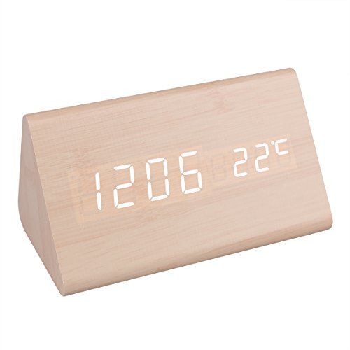 Mini Modern Triangle LED Wood Style Grain Thermometer Touch Sound Activated Desk Digital Alarm Clock (Bamboo case White light)