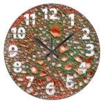 Leather Look Print, Orange/Green 5000 Large Clock